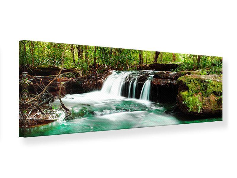 Leinwandbild Panorama Der Fluss am Wasserfall