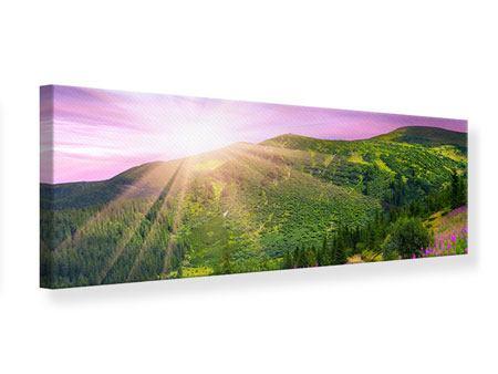 Leinwandbild Panorama Eine Sommerlandschaft bei Sonnenaufgang