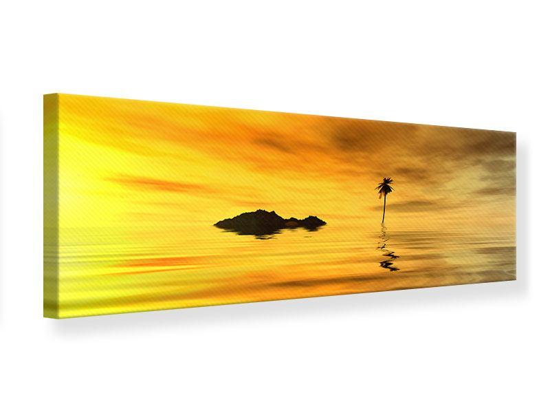 Leinwandbild Panorama Ab auf die Insel