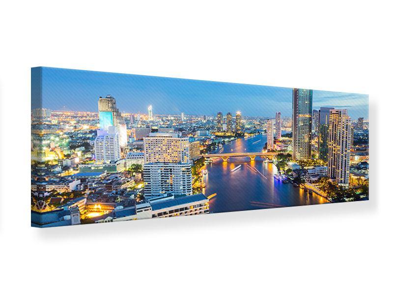 Leinwandbild Panorama Skyline Bangkok bei Sonnenuntergang