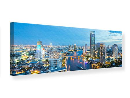 Leinwandbild Panorama Skyline Bangkok in der Abenddämmerung