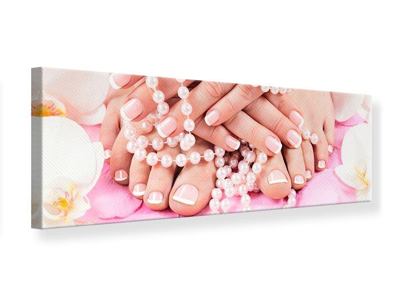 Leinwandbild Panorama Hände und Füsse