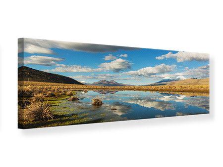 Leinwandbild Panorama Wasserspiegelung am See