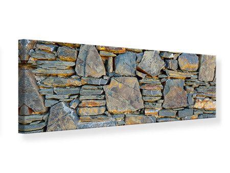 Leinwandbild Panorama Natürliche Steinmauer