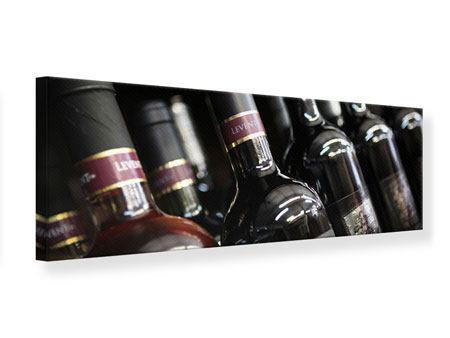 Leinwandbild Panorama Flaschenweine