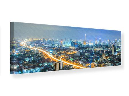 Leinwandbild Panorama Skyline Bangkok im Fieber der Nacht