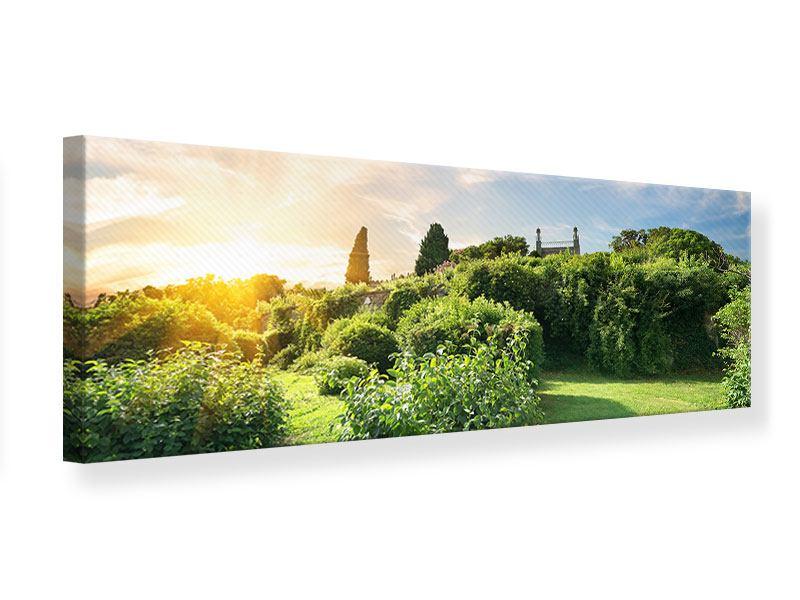 Leinwandbild Panorama Sonnenaufgang im Park