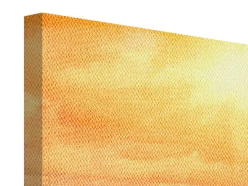 Leinwandbild Panorama Goldenes Licht für Sonnenblumen