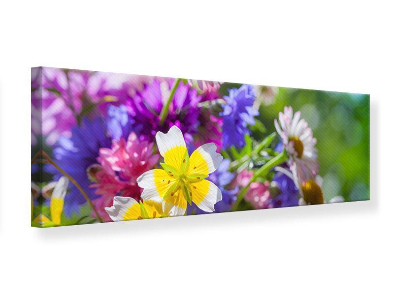Leinwandbild Panorama XXL Gartenblumen
