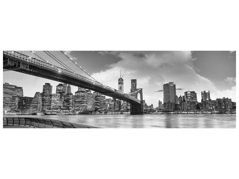 Leinwandbild Panorama Skyline Schwarzweissfotografie Brooklyn Bridge NY