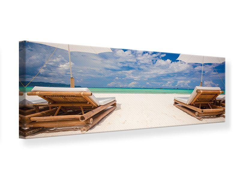 Leinwandbild Panorama Liegen am Strand