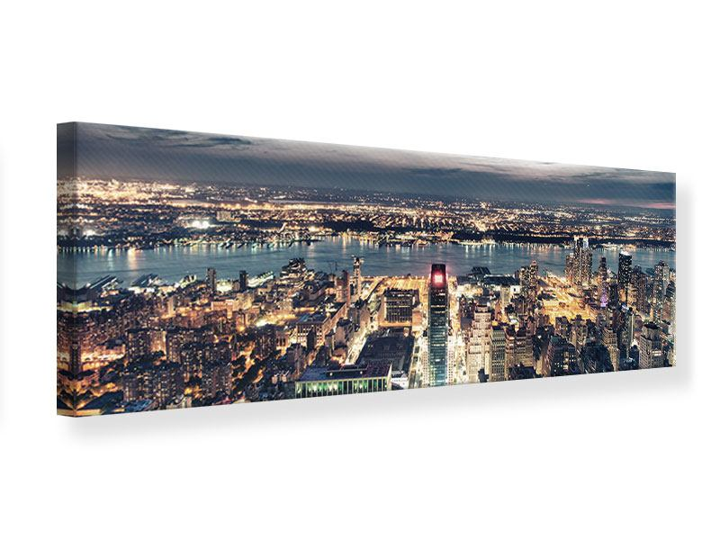 Leinwandbild Panorama Skyline Manhattan Citylights