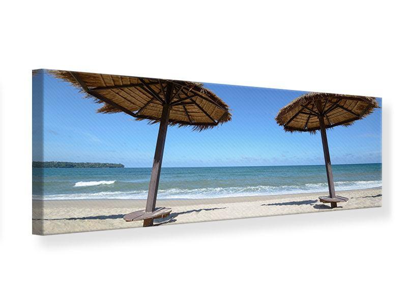 Leinwandbild Panorama Umbrellas