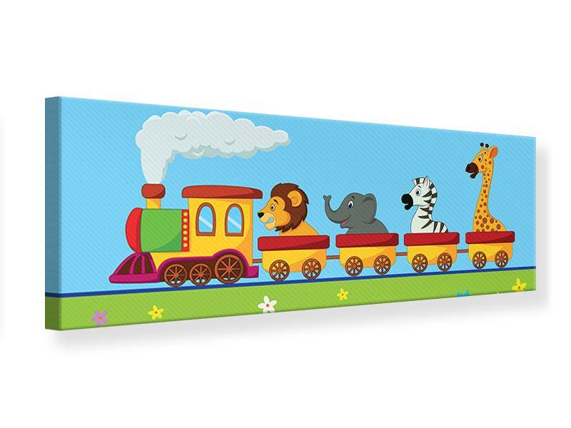 Leinwandbild Panorama Tierische Eisenbahn