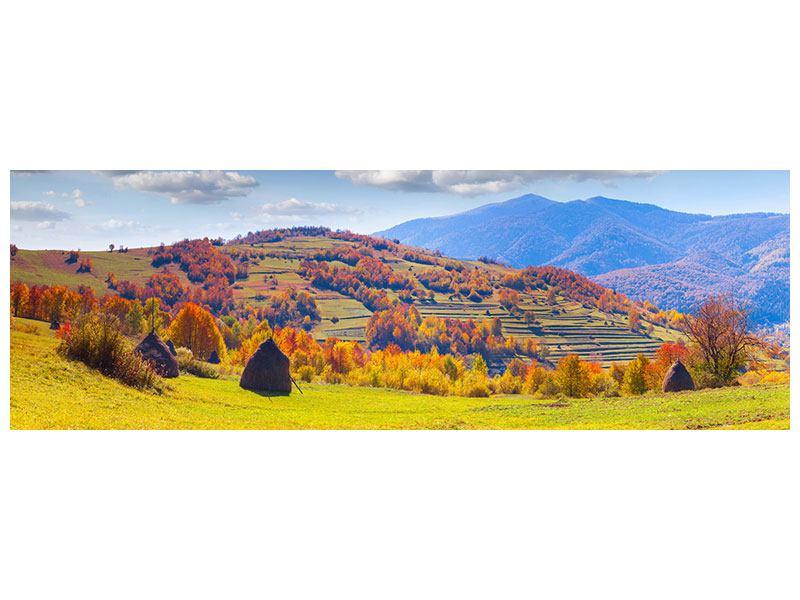 Leinwandbild Panorama Herbstliche Berglandschaft