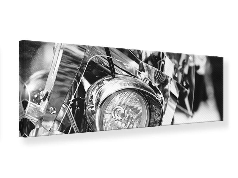 Leinwandbild Panorama Motorrad Close Up