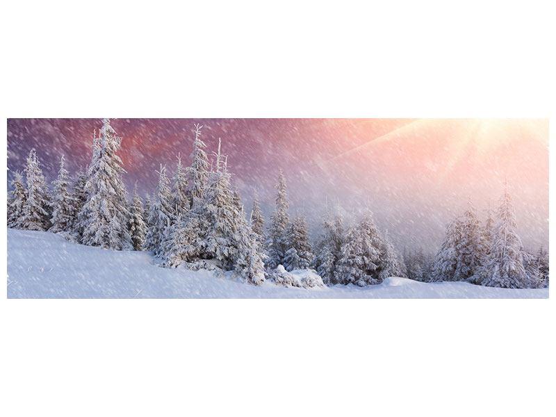 Leinwandbild Panorama Mystischer Schneesturm