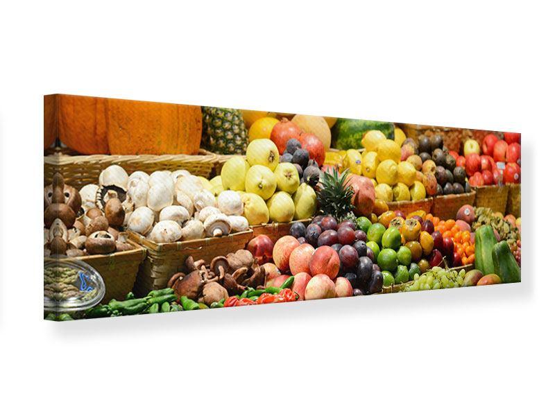 Leinwandbild Panorama Obstmarkt