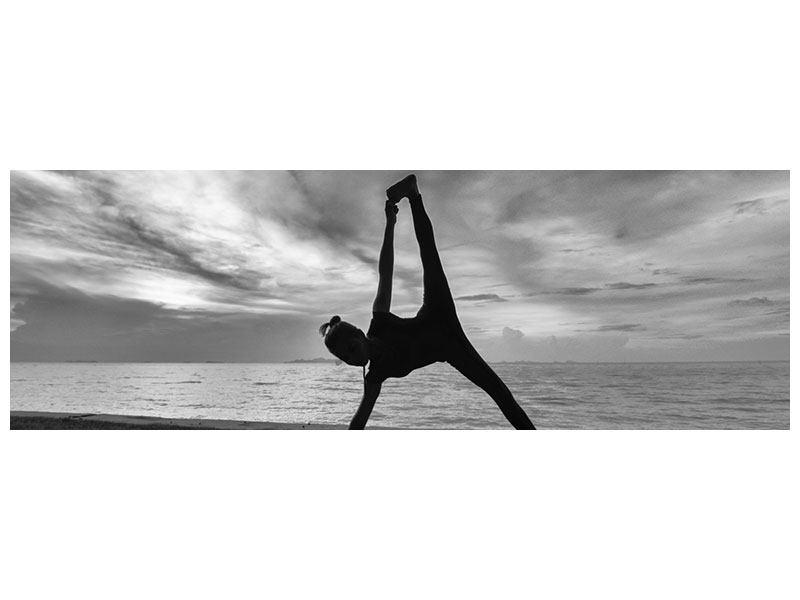 Leinwandbild Panorama Yoga am Strand