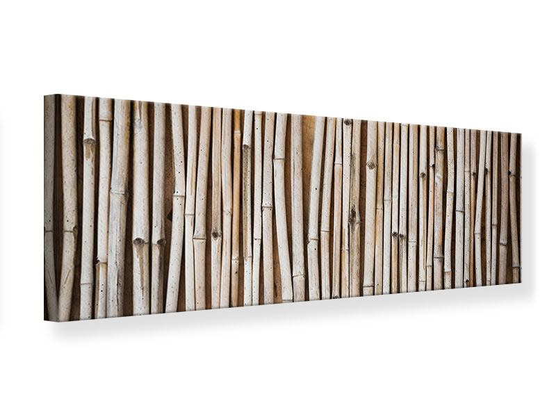 Leinwandbild Panorama Getrocknete Bambusrohre