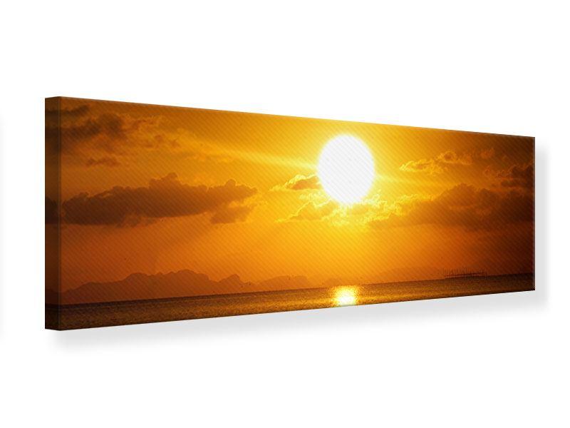 Leinwandbild Panorama Sonnenuntergang See