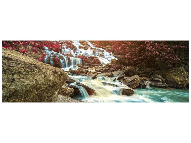 Leinwandbild Panorama Exotischer Wasserfall