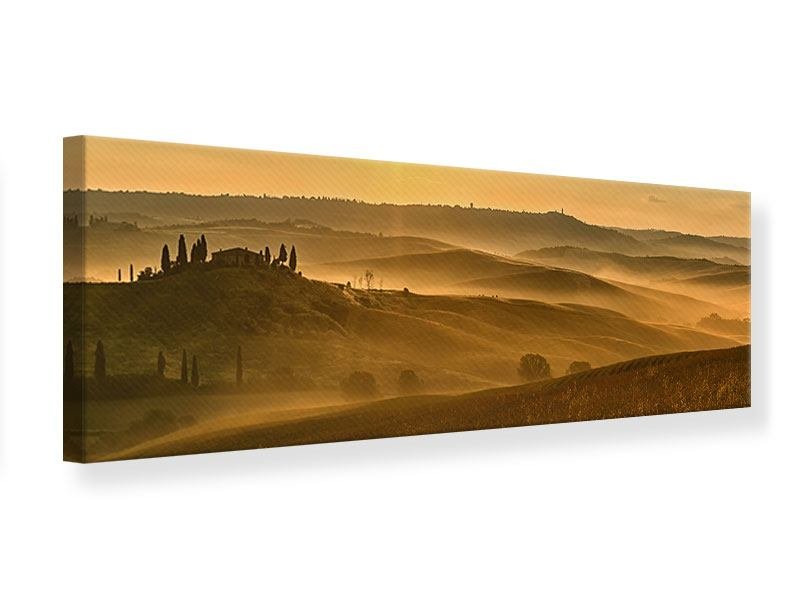 Leinwandbild Panorama Sonnenuntergang im Gebirge