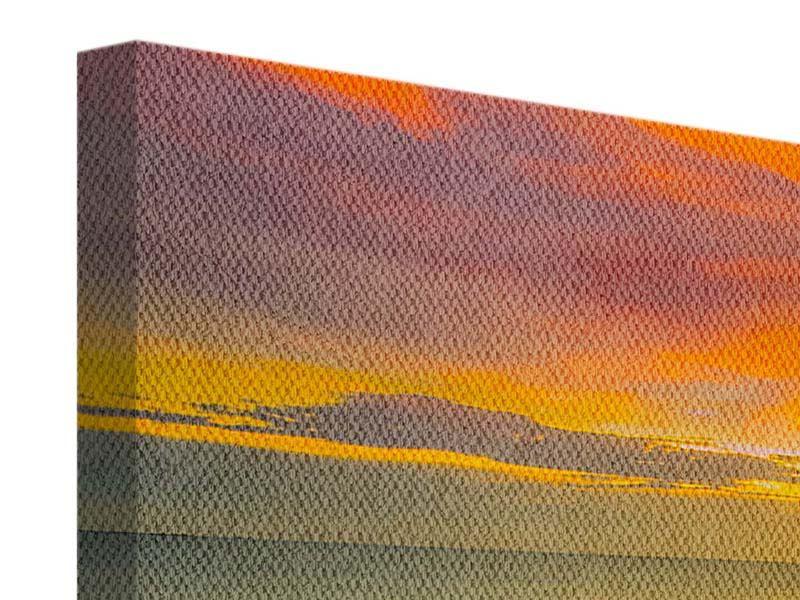 Leinwandbild Panorama Eine Holzbrücke im fernen Osten