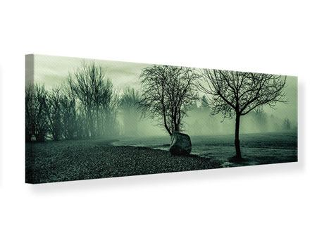 Leinwandbild Panorama Der Auwald im Nebel