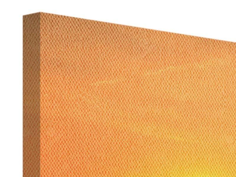 Leinwandbild Panorama Heissluftballon bei Sonnenuntergang