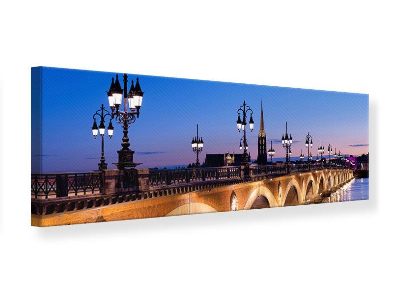 Leinwandbild Panorama Pont De Pierre bei Sonnenuntergang