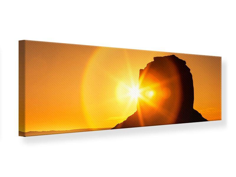 Leinwandbild Panorama Sonnenuntergang Monument Valley