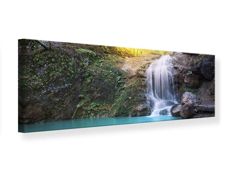 Leinwandbild Panorama Fliessender Wasserfall