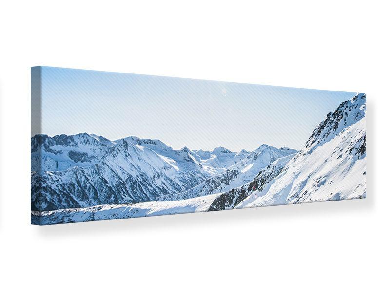 Leinwandbild Panorama Bergpanorama im Schnee