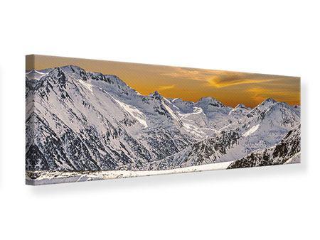 Leinwandbild Panorama Sonnenuntergang in den Bergen