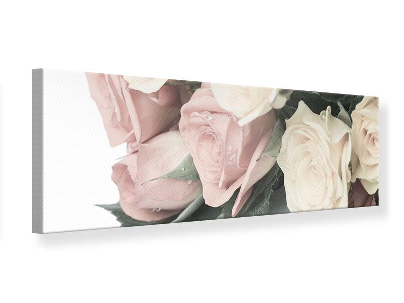 Leinwandbild Panorama Rosenromantik