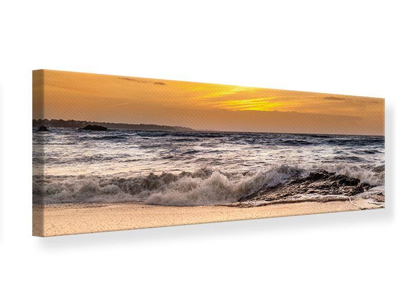 Leinwandbild Panorama See mit Sonnenuntergang