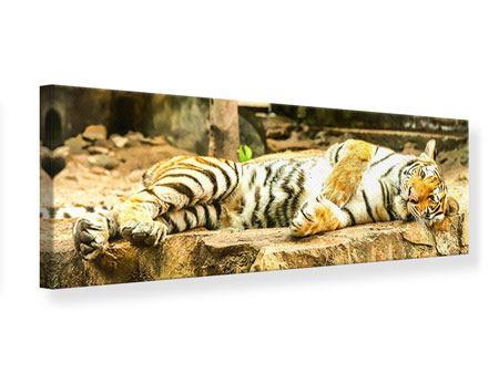 Leinwandbild Panorama Der Sibirische Tiger