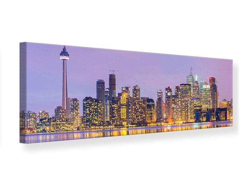 Leinwandbild Panorama Skyline Toronto bei Nacht