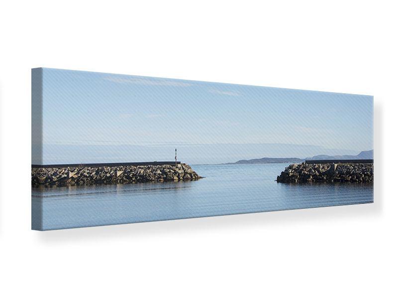 Leinwandbild Panorama Hafenmauern