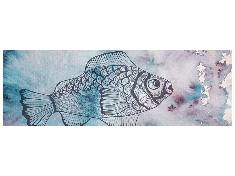 Leinwandbild Panorama Fisch-Aquarell