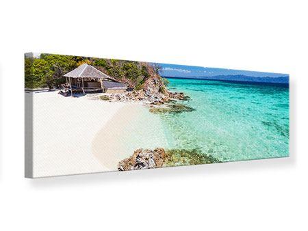 Leinwandbild Panorama Das Haus am Strand