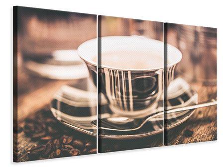 Leinwandbild 3-teilig Der Kaffee ist fertig