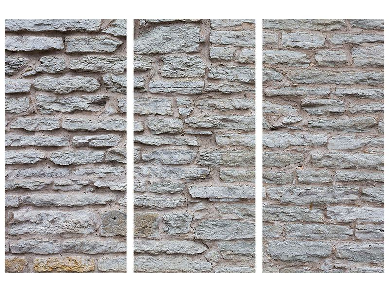 Leinwandbild 3-teilig Steinmauer