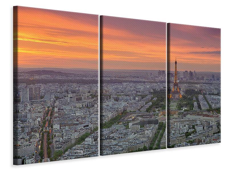 Leinwandbild 3-teilig Skyline Paris bei Sonnenuntergang