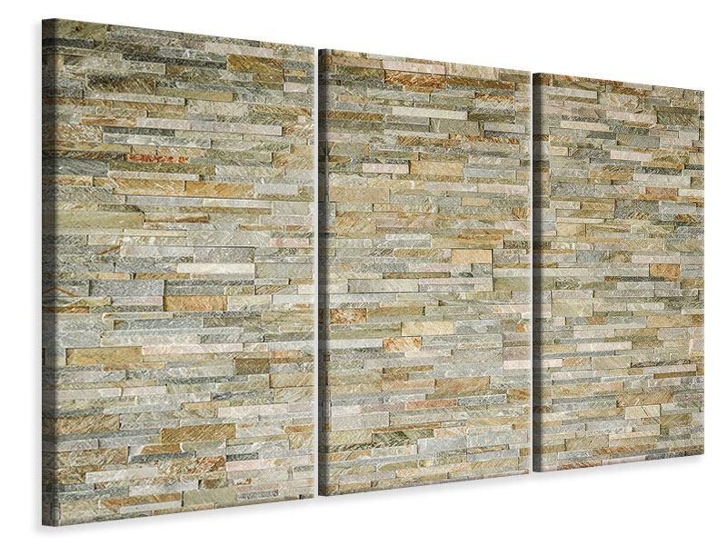 Leinwandbild 3-teilig Edle Steinmauer