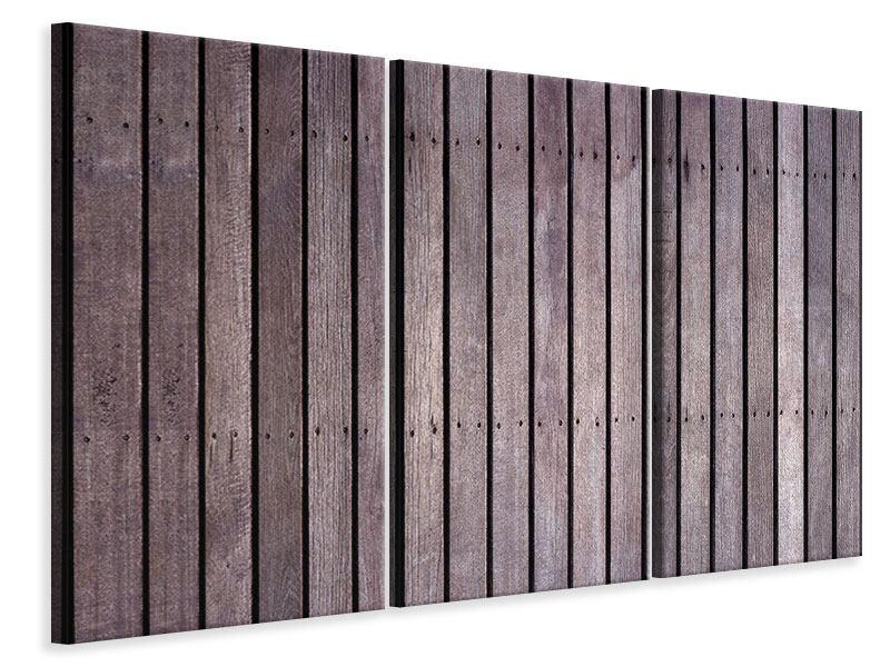 Leinwandbild 3-teilig Holzwand