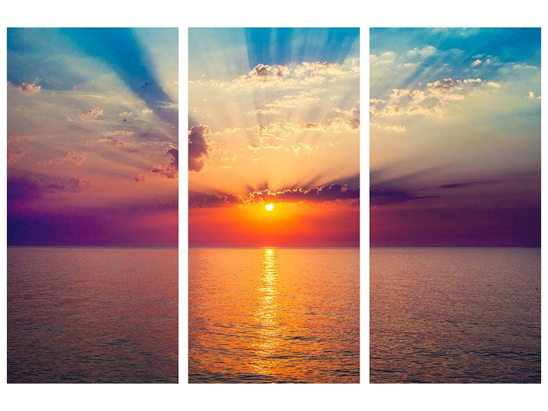 Leinwandbild 3-teilig Mystischer Sonnenaufgang