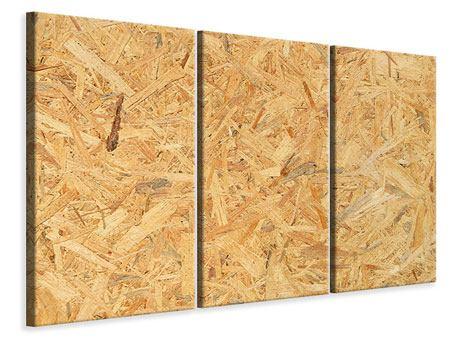 Leinwandbild 3-teilig Gepresstes Holz