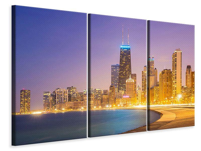 Leinwandbild 3-teilig Skyline Chicago in der Nacht